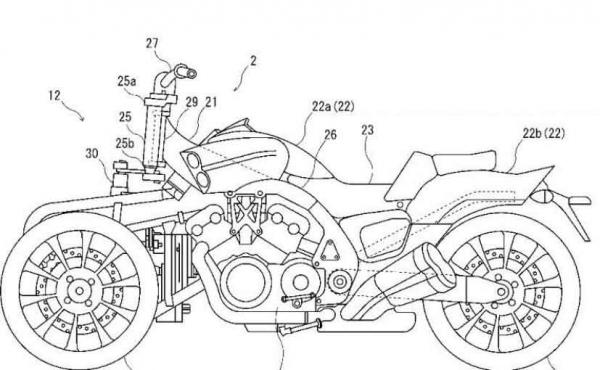 Yamaha files patent for mad three-wheel V-Max