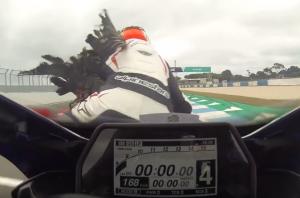 Bird hits biker on track at Philip Island