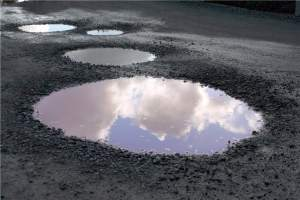 Potholes filled with water