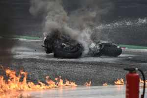 Lorenzo Savadori, fiery crash, Styrian MotoGP