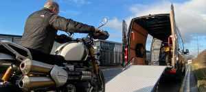 BMF loading van for EU motorcycle travel