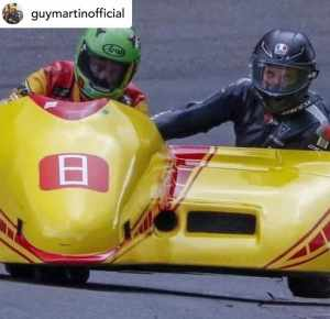 Guy tries out a motorcycle sidecar
